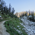 The trail opens up and winds around the the Holly Lake junction in the North Fork.- Paintbrush Canyon to Cascade Canyon Loop