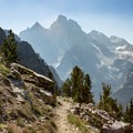 A perfect view of Grand Teton while hiking down to Lake Solitude.- Paintbrush Canyon to Cascade Canyon Loop