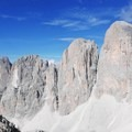Pale di San Martino viewed from the Alta Via No. 2 in the Dolomites.- Alta Via No. 2