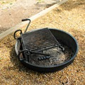 A typical grill and fire pit.- Leesylvania State Park Campground