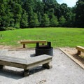 Large fire pit and benches. Perfect for groups.- Leesylvania State Park Campground