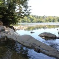 Looking toward the river from Scott's Run Falls.- Scott's Run Nature Preserve