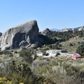 Camping at the foot of Elephant Rock.- City of Rocks Campground
