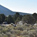A typical walk-in site at City of Rocks.- City of Rocks Campground