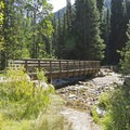 Large bridge near the trailhead.- Lower Red Pine Lake Trail