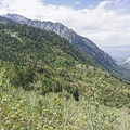 Views west down Little Cottonwood Canyon toward Salt Lake City.- Lower Red Pine Lake Trail