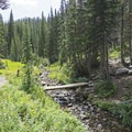 Small bridge leading to the Maybird Lakes.- Lower Red Pine Lake Trail