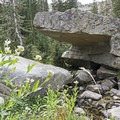 An unusual granite boulder near the lake.- Lower Red Pine Lake Trail