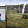 Information sign at the trailhead.- Seljalandsfoss