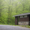 The bathhouse in the third loop.- Woodford State Park Campground