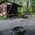 Lean-to in Woodford State Park Campground.- Woodford State Park Campground