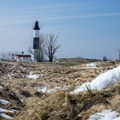 Big Sable Lighthouse coming into view.- Ludington State Park