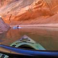 Kayaking deeper into the canyon.- Antelope Canyon