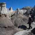 Hiking among hoodoos.- Bisti/De-na-zin Badlands