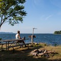 Beautiful vantages and the typical picnic table on Burton Island.- Burton Island State Park