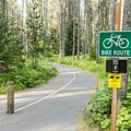A paved bike trail runs through the campground.- Apgar Campground