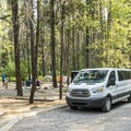 A group camp in use by a commercial tour company.- Apgar Campground