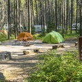 One of three hiker/biker campsites, only $5 per night.- Apgar Campground