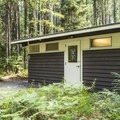Standard Glacier restrooms with flush toilets and wastewater dump.- Fish Creek Campground