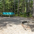 One of the campsites high above Fish Creek.- Fish Creek Campground