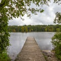 One of many small docks extending over the pond.- Trap Pond State Park