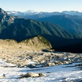 Starting on the glacier; Johannesburg Mountain to the left and Glacier Peak in the middle.- Eldorado Peak
