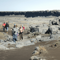 Returning on the trail to Dettifoss.- Selfoss, Dettifoss, and Sanddalur