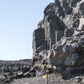 Giant basalt column staircase.- Selfoss, Dettifoss, and Sanddalur