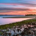 At sunset, Sandy Hook is very photogenic.- Sandy Hook