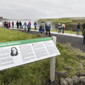 Walk down a set of stairs to the walkway.- Gullfoss