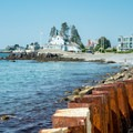 View of the far western section of beach from the steel and concrete sea wall.- Middle Beach in Kennebunk