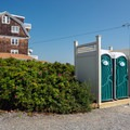 There are two outhouses at the eastern edge of the the beach at Oaks Neck.- Middle Beach in Kennebunk