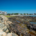 A view back to Gooch's Beach from the rocks of Oaks Neck.- Middle Beach in Kennebunk