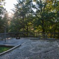 All of the sites are built up with railings and gravel.- Amicalola Falls State Park Campground