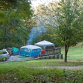 There is room for multiple tents and vehicles.- Amicalola Falls State Park Campground