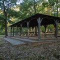Picnic pavilion near the campground entrance.- Amicalola Falls State Park Campground