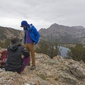 Taking in the first views of Liberty Lake from the saddle at around 10,500 feet.- Liberty Lake Backpacking
