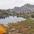 Setting up camp on near side of the lake. There is another camping area on the far side.- Liberty Lake Backpacking