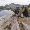 Having some dinner after the hike.- Liberty Lake Backpacking