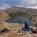 Taking some photos and having tea at the lookout above the lake.- Liberty Lake Backpacking