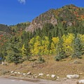 The trailhead gets packed with fall color.- Mill D North to Dog Lake