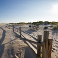 The fence separating the campground from the ocean.- Assateague Island Campground