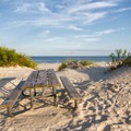 A campsite with a nice view of the ocean.- Assateague Island Campground