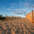 A dune crossing from the parking lot.- Fenwick Island State Park