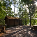 One of the cabins available for rent.- Trap Pond State Park Campground