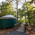 One of the yurts available for rent.- Trap Pond State Park Campground