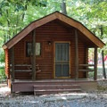 One of the campground's nine rustic cabins.- Bull Run Campground