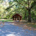 A secluded cabin.- Bull Run Campground