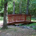 A bridge on one of the park's hiking trails.- Bull Run Campground