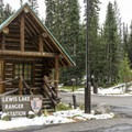 There is a small ranger station in the campground.- Lewis Lake Campground